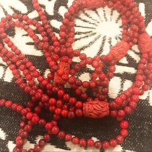 Jewelry - Long Red Beaded Necklace
